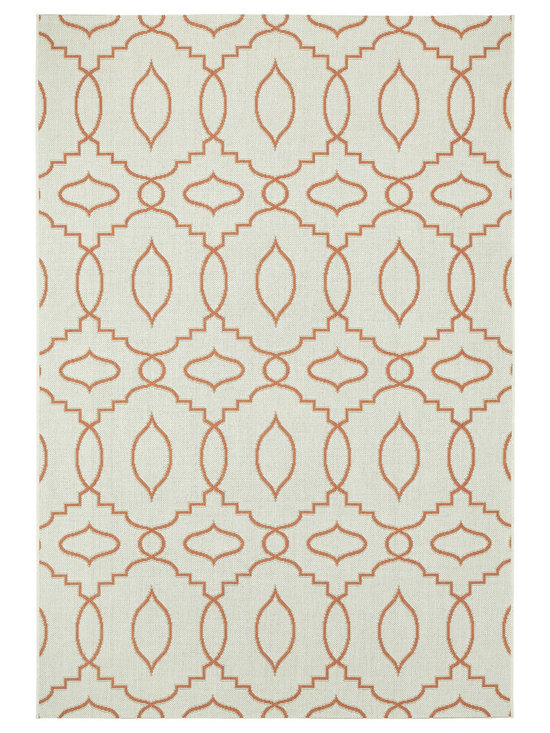 """Finesse Moor rug in Persimmon - """"A popular dhurrie from my indoor collection has now been made to play outside.  With light neutral bases, and clean, lighter stroke graphic patterns, Moor outdoor will pop in any natural landscape."""" - Genevieve Gorder"""