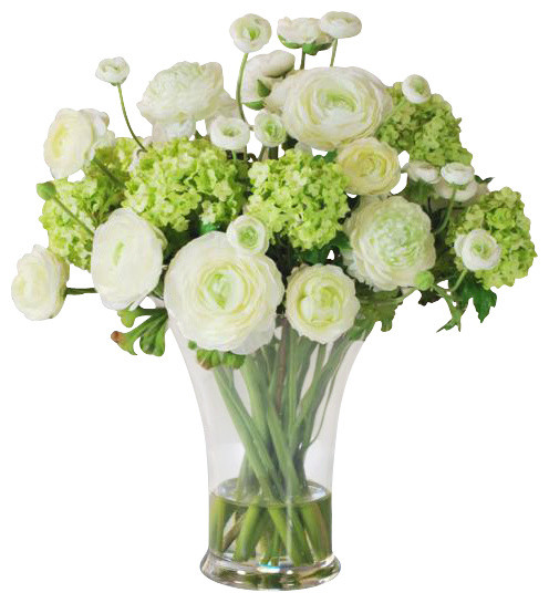 Faux Ranunculus Arrangement In Glass Vase Traditional Artificial Flowers Plants And Trees