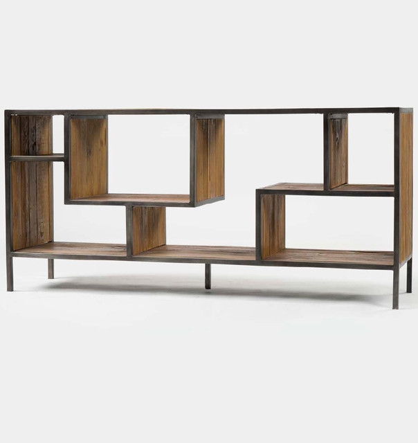 Geometric Wood and Iron Bookcase Console - Rustic - Bookcases - new ...
