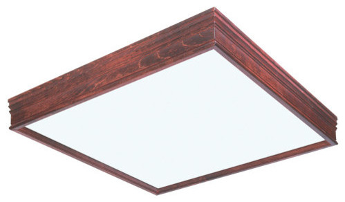 afx lighting ctc2u3r8 two light square cherry wood framed fluore. Black Bedroom Furniture Sets. Home Design Ideas