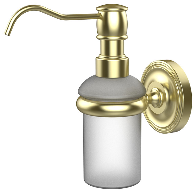 Wall Mounted Soap Dispenser Satin Brass Traditional Soap Dishes Holders By Avondale