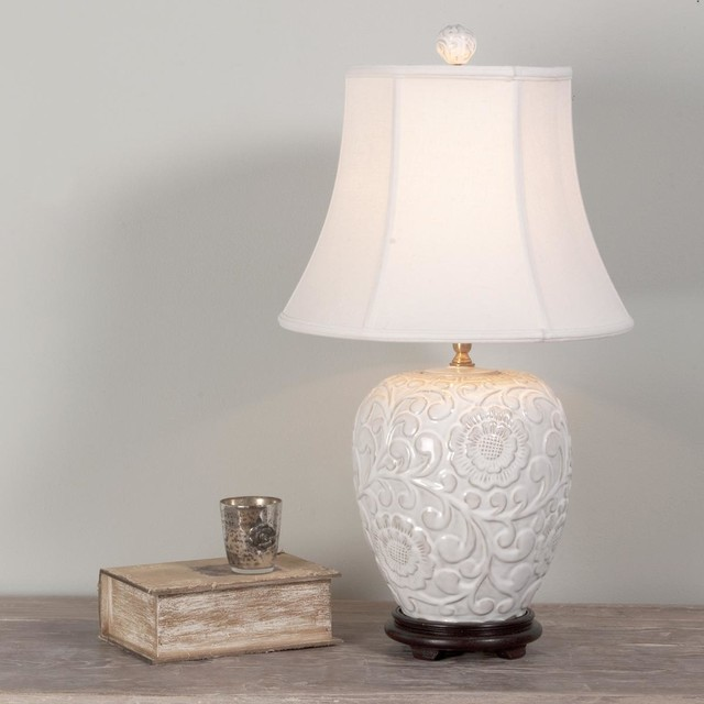 Ceramic Wall Lamp Shades : Floral Relief Ceramic Table Lamp - Lamp Shades - by Shades of Light