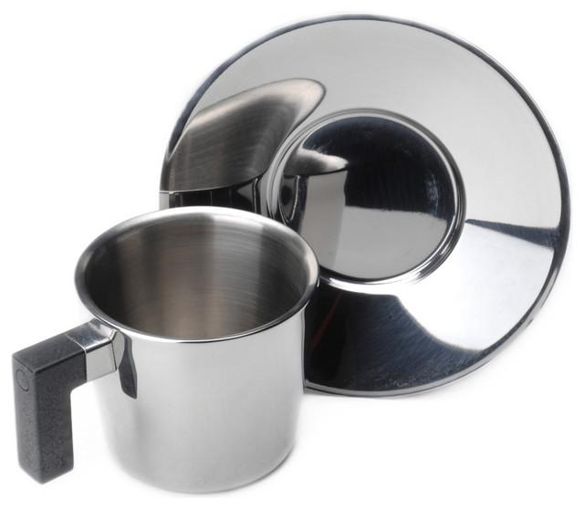 Berghoff Cubo Coffee Cup & Saucer 4.3 oz Set of 4 modern-mugs