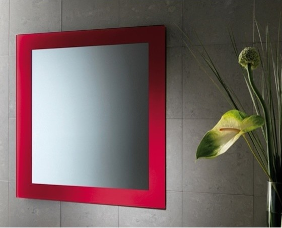 Red horizontal or vertical mirror with frame - Large horizontal bathroom mirrors ...