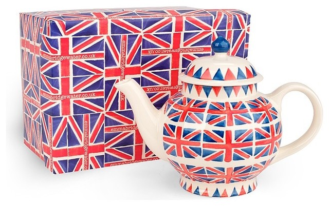 Emma Bridgewater Pottery Union Jack 4 Cup Teapot Gift Box eclectic coffee makers and tea kettles