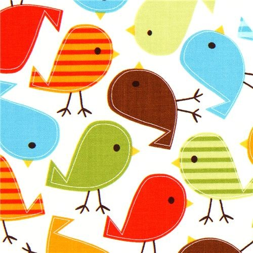 white fabric with colourful birds Robert Kaufman kawaii  fabric