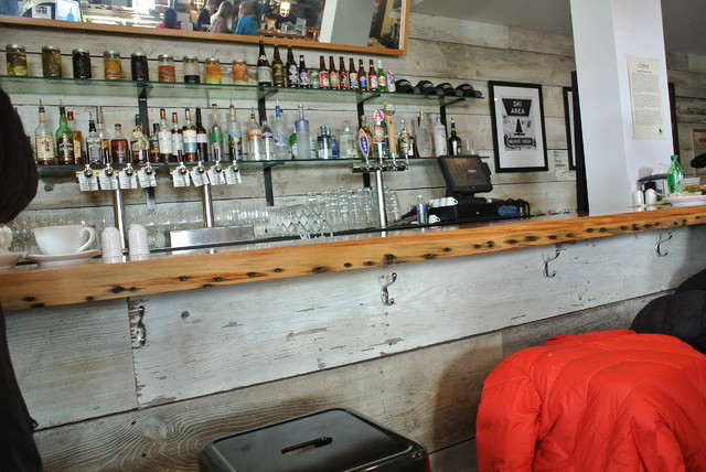 Barn Board Bar & Reclaimed Pine Countertop eclectic media room