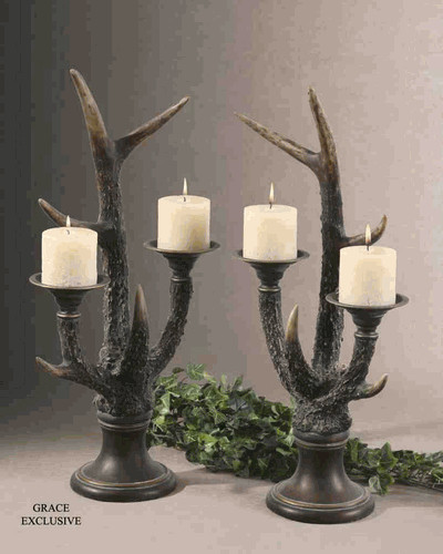 19204 Stag Horn Candleholder S/2: Dancing Lights To Enlighten You tropical-candleholders