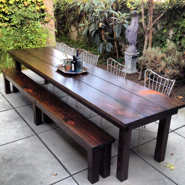 11ft Redwood Outdoor Farmhouse Dining Table Rustic Dining Tables