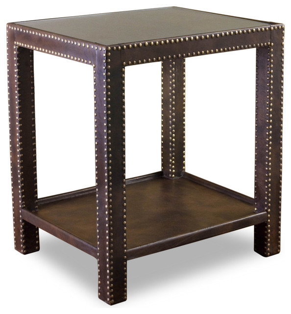 Alanya Modern Rustic Leather Nail Head Side Table transitional-nightstands-and-bedside-tables