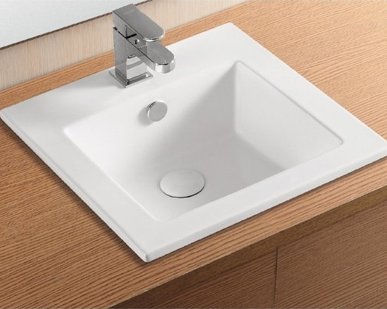 "Caracalla - Stylish Square White Ceramic Self Rimming Sink by Caracalla - Designed in Italy by Caracalla as a self rimming bathroom sink. Square contemporary sink is made of high quality porcelain white ceramic. Sink includes overflow, a single faucet hole, and a flat bottomed washbasin. Sink dimensions: 16.34"" (width), 6.69"" (height), 16.14"" (depth)"