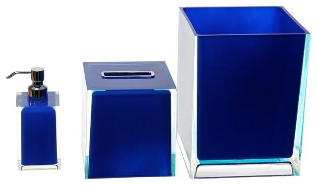 Blue 3 piece accessory set contemporary bathroom for Blue bath accessories set