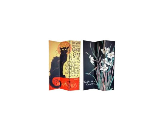"Functional Art/Photography Printed on a 6ft Folding Screen - 6ft double sided folding screen room divider in three panels with a vintage printed image of the ""chat noir"""