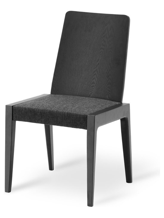 Bryght - Cole Liquorice Fabric Upholstered Ebony Dining Chair - The Cole dining chair boasts a sleek modern design that adds understated elegance to your dining room.With its balanced clean-line proportions and whole piece curved back rest, the Cole dining chair lends an air of sophistication to your fine dining needs. Its delicately crafted N-shaped legs are pleasing to the eyes, while its extra padded flat seat assures a long comfortable sit.