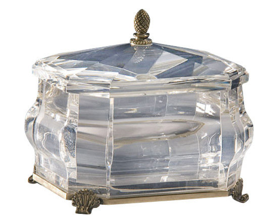 """Inviting Home - Octagonal Solid Crystal Box - octagonal solid crystal box with antique solid brass accents; 8""""W x 6-1/2""""D x 7""""H; Octagonal solid crystal box with solid crystal lid. Crystal box has an antique solid brass base scrolled leaf feet and finial."""