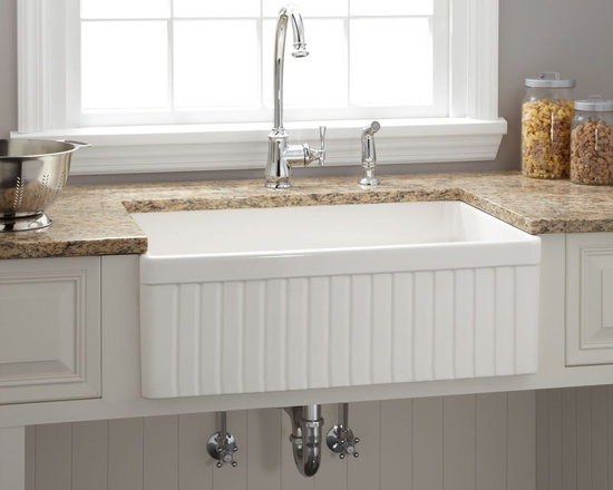 Farmhouse Sinks - Baldwin Fireclay Farmhouse Kitchen Sink - Fluted Front, Signature Hardware