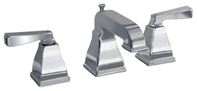 Town Square Widespread Bathroom Faucet with Metal Lever Handles in Satin Nickel contemporary-bathroom-faucets