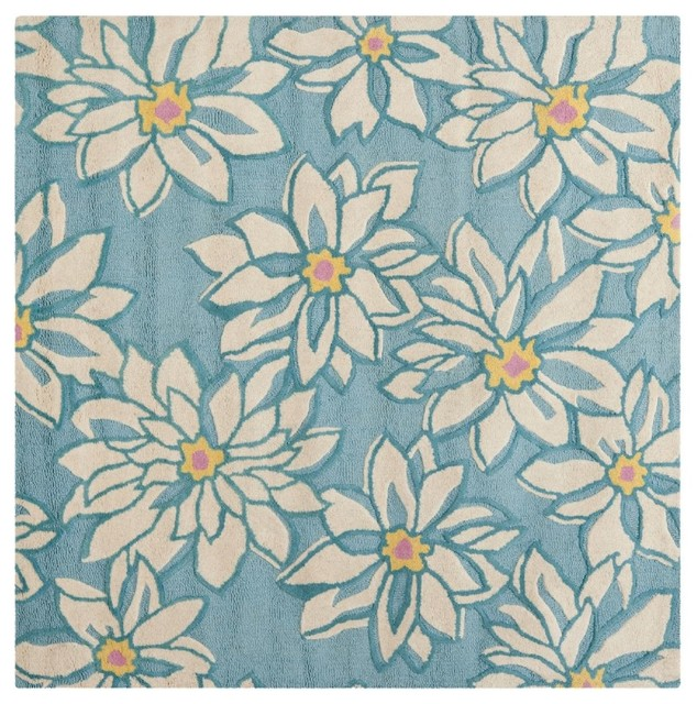 Country & Floral Blossom Square 6' Square Light Blue-Ivory Area Rug traditional-area-rugs