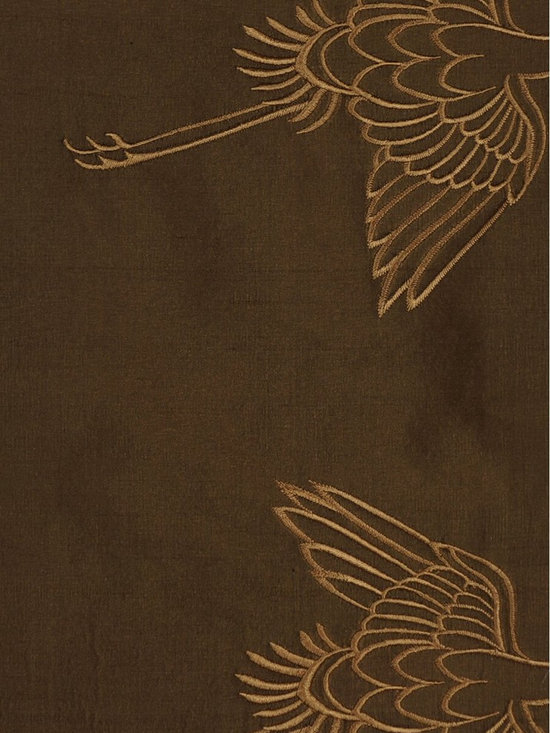 Brown Custom Made Embroidered Dupioni Silk Curtains - Cranes are dancing beautifully in all kinds of postures among the ethereal and flowing clouds. Stunning and breath-taking.