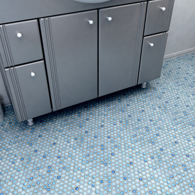Glossy Blue Penny Round Tiles contemporary-tile