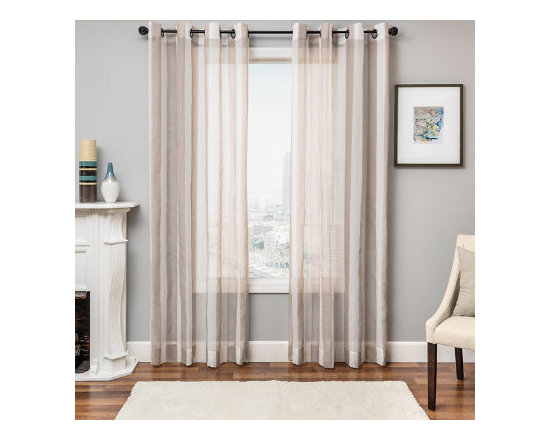 Grandin Road - Giada Striped Sheer Drapery Panel - Wide-stripe sheer window curtain panel. Each panel is sold separately. Made from 100% polyester with the look and feel of linen. Each panel hangs from eight nickel-toned grommets. See our selection of curtain rods (sold separately). Enjoy the tranquility of soft and sheer stripes with the linen-like, grommet-top Giada striped sheer panels billowing in your windows. The fashionably wide, alternating stripe pattern adds the perfect touch of color all while allowing soft light to enter the room. Make these sheers the main curtains in a darker room or layer them with a set of heavier drapes for added drama.  .  .  .  .  . Dry clean only . Imported.
