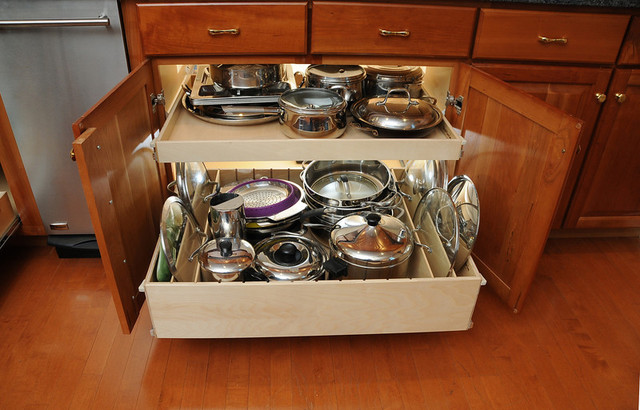 Pull Out Shelves with Dividers - Contemporary - Kitchen Drawer Organizers - chicago - by ...