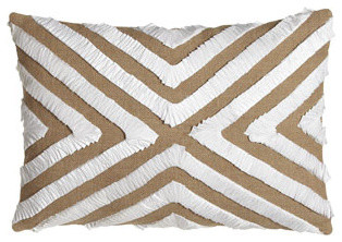 """Jute Pillow w/ Pleated Miter Design, 14"""" x 20"""" traditional-bed-pillows-and-pillowcases"""