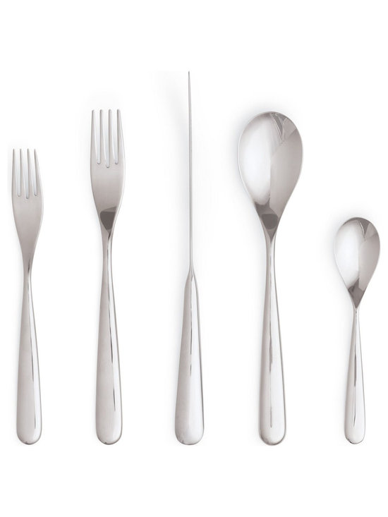 Century Flatware, 5-Piece Setting - Doshi Levien is a London-based design studio founded in 2000 by Nipa Doshi and Jonathan Levien. Their first commission came from Tom Dixon, and their roster of internationally acclaimed clients has continued to grow ever since. For Herdmar, they were invited to design a special collection to celebrate the company's 100 years of cutlery expertise and manufacturing, and Century Flatware (2011) was born. This was the first time that the family-owned business worked with outsourced designers, and all parties agree that the result is both a celebration of the future and a tribute to the past. The graceful form of this set was inspired by the shape of a plane's propeller, resulting in balanced tools that are as pleasing to hold as they are to look at. Crafted of durable stainless steel, the knife is type 420, and the forks and spoons are type 304. The set comes packaged in an elegant red gift box. Dishwasher safe. Made in Portugal.