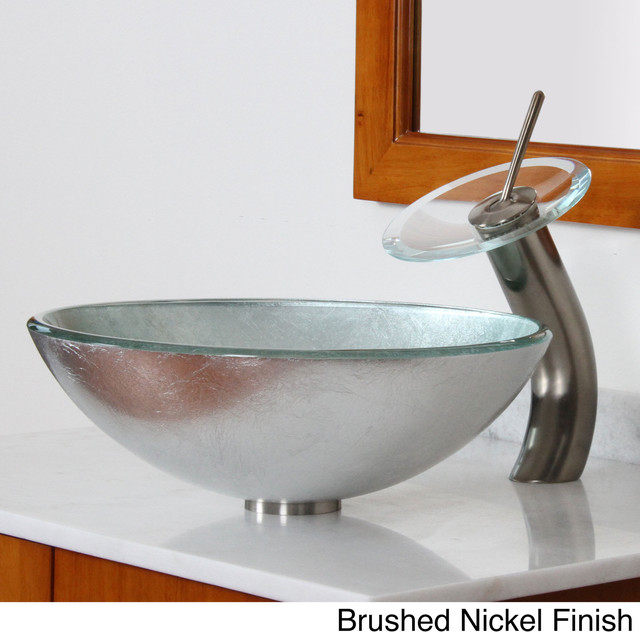 ... Sink with Silver Wrinkles Pattern an - Contemporary - Bathroom Sinks