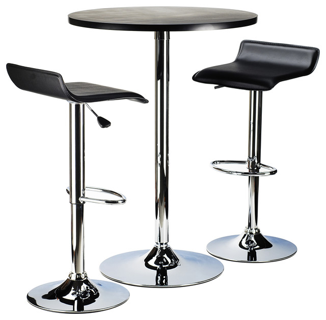 spectrum 3pc pub table set 24 round black table with chrome 2