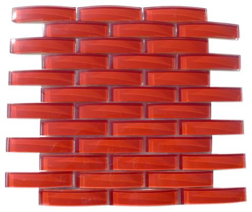 Loft Crescent Cherry Red Glass Tiles contemporary-tile