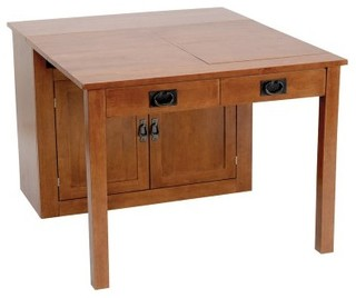 Stakmore Shaker Mission Style Expanding Cabinet Fruitwood Modern Dining
