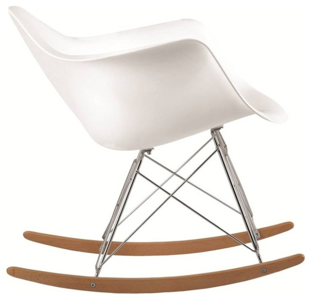 Molded White Plastic Armchair Rocker White Midcentury Rocking Chairs By In Style Modern
