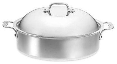 Stainless Steel 6-Qt. Round French Braiser with Lid & Rack modern-cookware