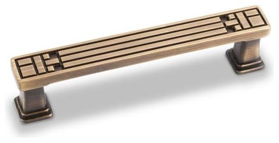 "Jeffrey Alexander Rochester Arts & Crafts 3-3/4"" Handle Pull - Antique Brass modern-cabinet-and-drawer-handle-pulls"