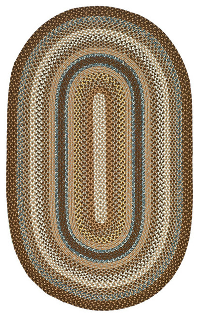 Hand-woven Reversible Brown Braided Rug (8' x 10' Oval) contemporary-rugs