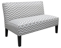 Zigzag Armless Settee, Grey contemporary sofas
