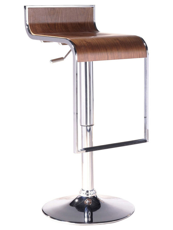 """LexMod - LEM Piston Style Bar Stool in Walnut - The LEM Bar Stool has sleek lines and would be equally impressive in a restaurant or at home. It features a sturdy chrome steel frame with hydraulic piston and lever for height adjustment from 27"""" - 31"""". Perfect for entertaining guests at your own bar at home, or for stylish seating around the counter."""