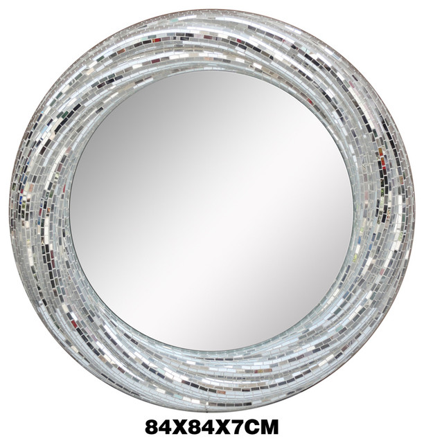 Luxury White Silver Glass Mosaic Round Mirrors