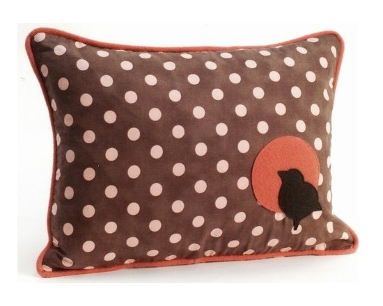 Pillow Decor - Pillow Decor - Bird Polka Dot Decorative Throw Pillow - One of three delightful pillows in Grand Family Living's 'Forest Baby' collection. This charming childrens pillow will liven up any nursery or add a splash of fun to a nature loving girls room.