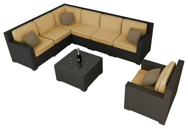 Hampton 8 Piece Modern Sectional Set, Chocolate Wicker and Wheat Cushions modern-patio-furniture-and-outdoor-furniture