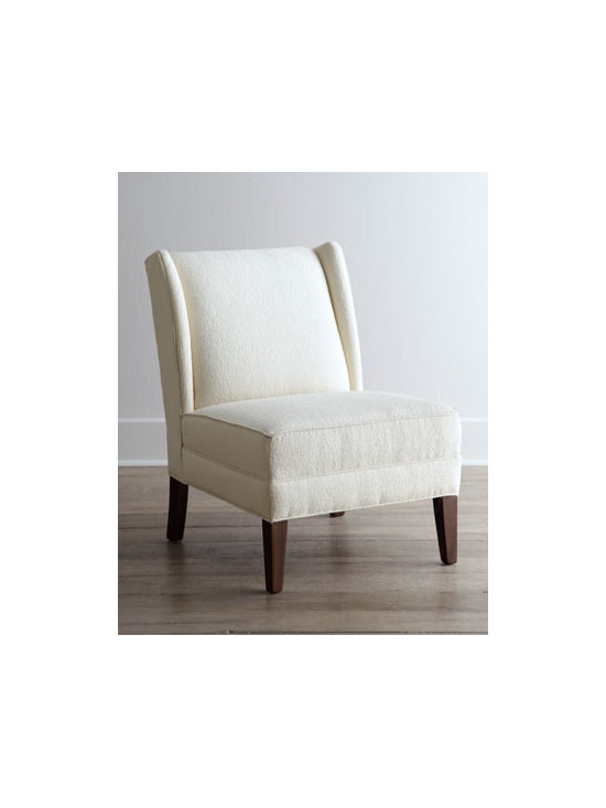 "Horchow - Carmen's Cottage Chair - Classic cream armless chair brings quiet sophistication to the room with its subtly patterned upholstery. Its clean contemporary lines blend well with both traditional and transitional decor. Hardwood frame. Olefin/rayon/polyester upholstery. 34""W x...."