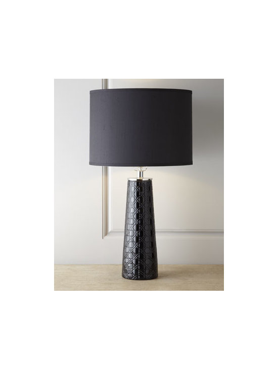 "Jamie Young - Jamie Young Etched Pillar Table Lamp - Exclusively ours. Onyx-colored lamp makes a dramatic and stylish statement with its dazzling wedge cuts crafted from upright and cross cutting techniques. Handcrafted of glass. Silk shade. Three-way switch on socket; uses one 150-watt bulb. 16.5""Dia. x 27.5""T. Imported."