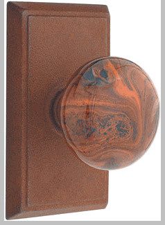 Rust Brown Swirl Privacy Knob with #2 Rosette eclectic knobs