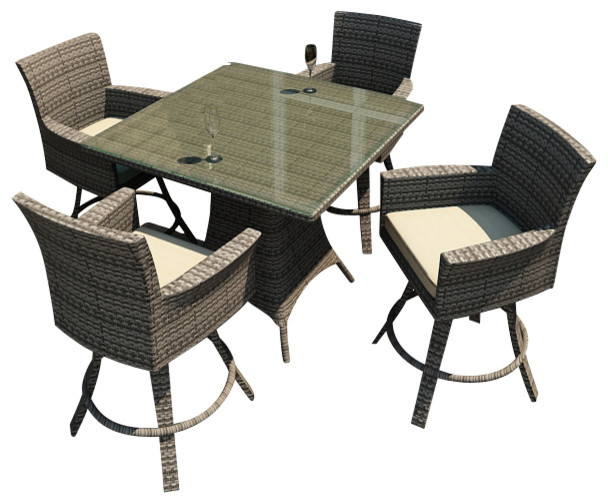 Hampton 5 Piece Wicker Outdoor Bar Set, Heather Wicker and Beige Cushions contemporary-patio-furniture-and-outdoor-furniture