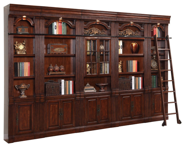 Library 5 Piece Inset Bookcase Wall With Ladder In Brown