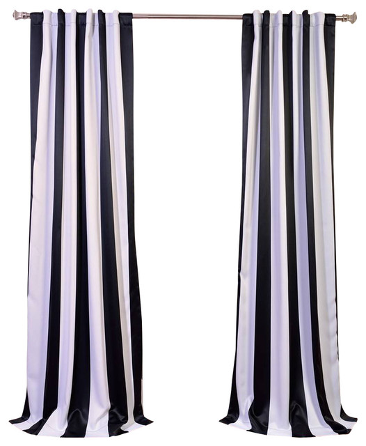 Awning black white stripe blackout curtain Black and white striped curtains