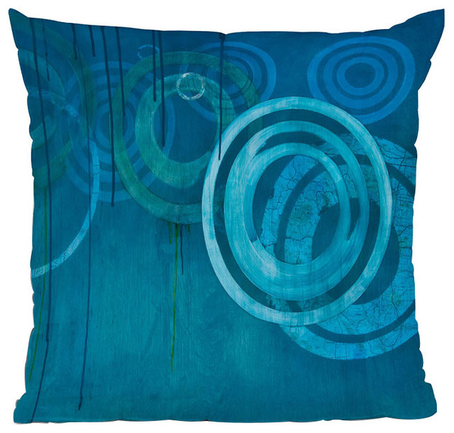 DENY Designs Stacey Schultz Circle World Blue Throw Pillow contemporary-decorative-pillows