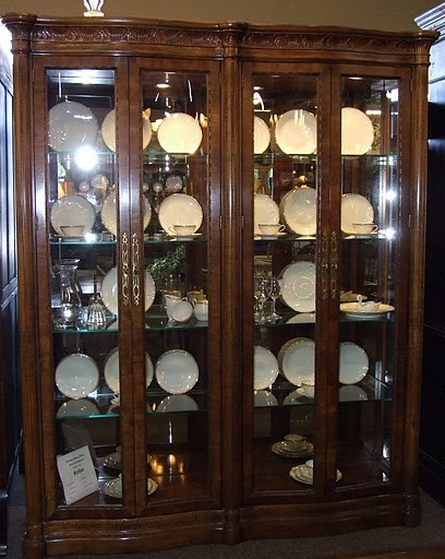 Henredon Double Full Glass China Cabinet traditional-buffets-and ...