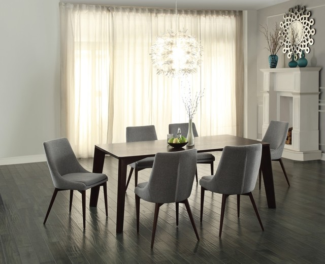 ultra modern espresso dining table with gray fabric dining chairs 7pc